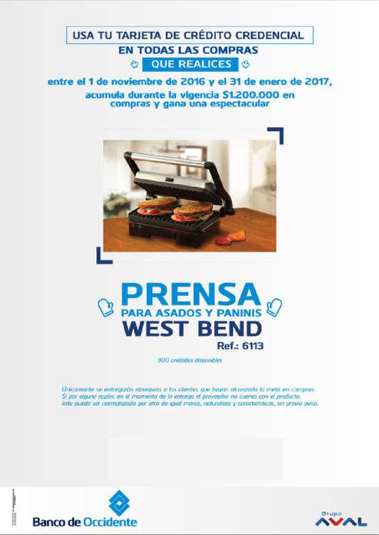 Ofertas de Banco de Occidente, Promociones tarjeta Credencial