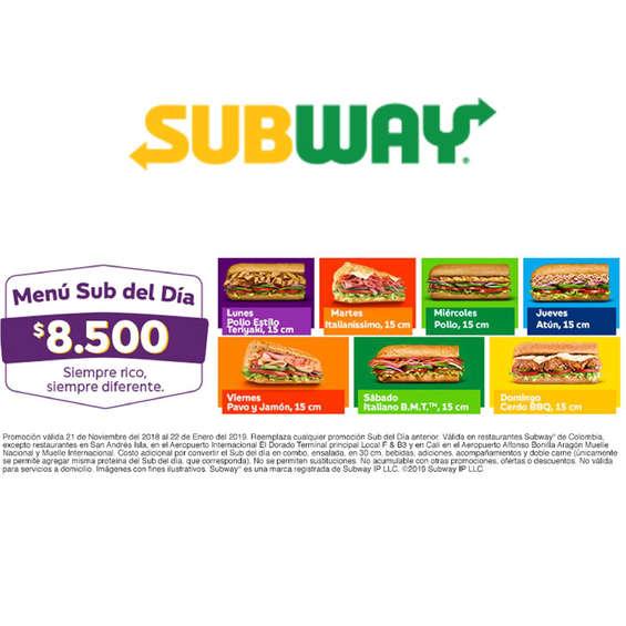Ofertas de Subway, Menú Sub Del Día