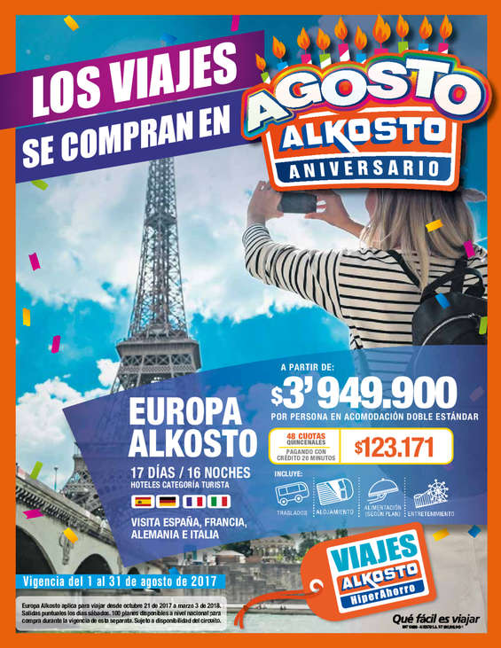 Ofertas de Alkosto, Los viajes se compran en Alkosto - Agosto 2017