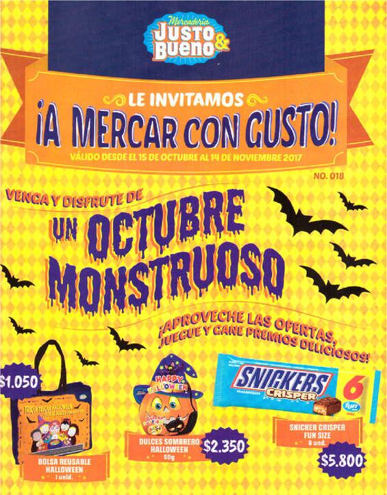 Ofertas de Mercadería Justo & Bueno, Venga y disfrute de un Octubre Monstruoso